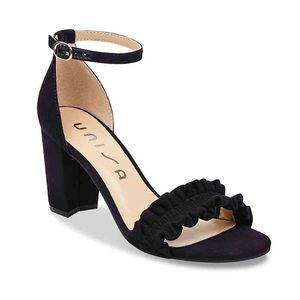 NEW. Unisa Ruffle Open Toe Block Heels. 7.5